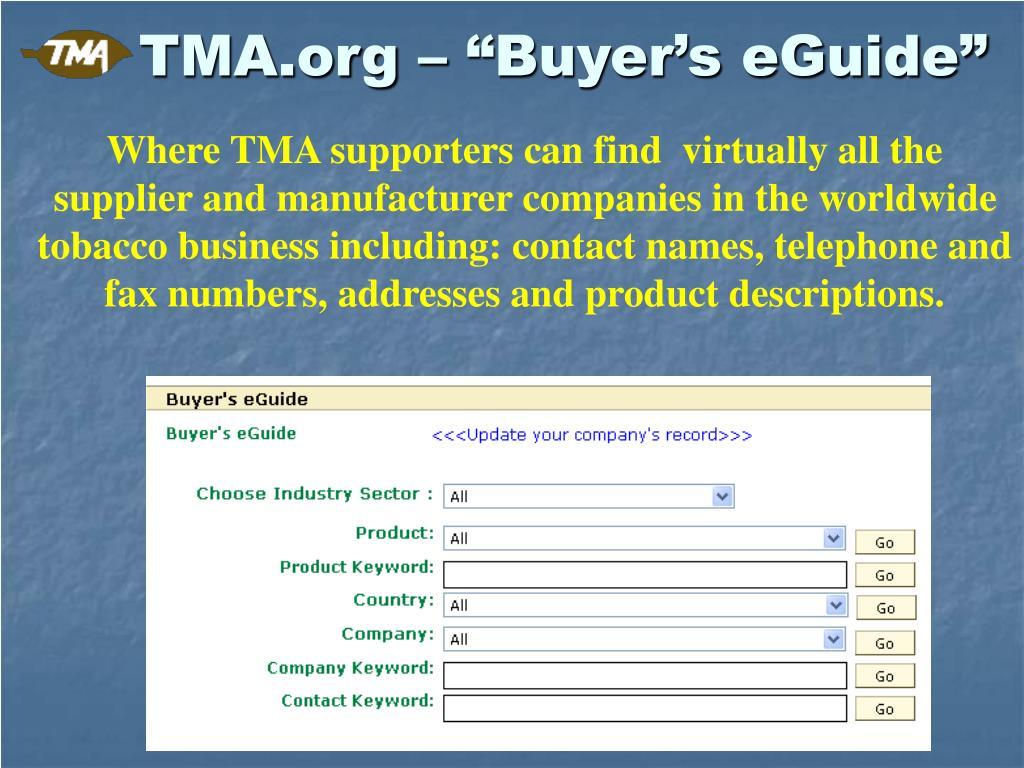 "TMA.org – ""Buyer's eGuide"""