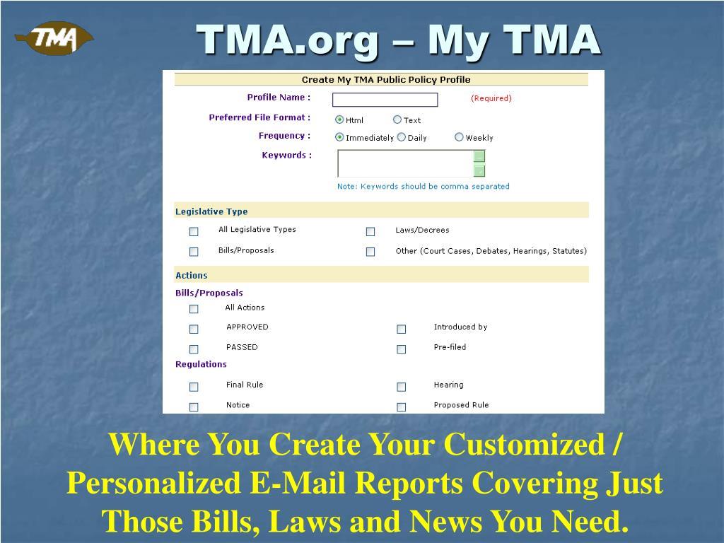TMA.org – My TMA