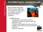 nci carra program involving advocates