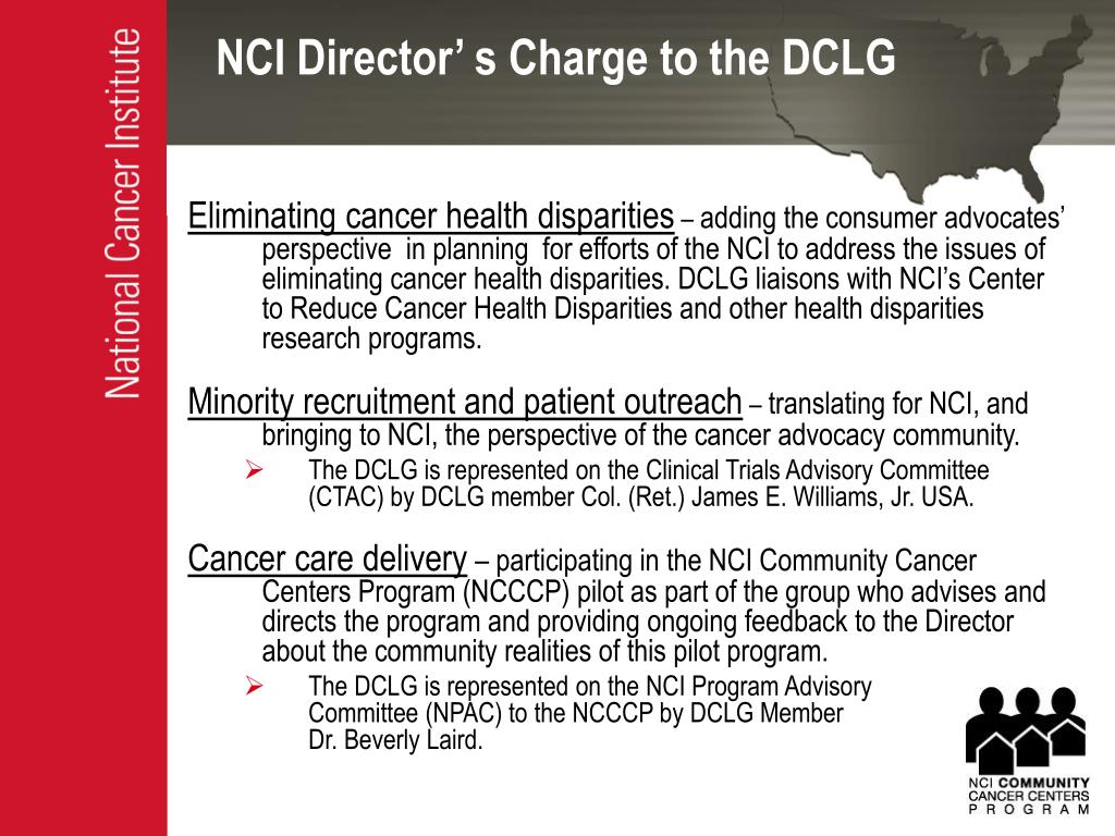 NCI Director' s Charge to the DCLG