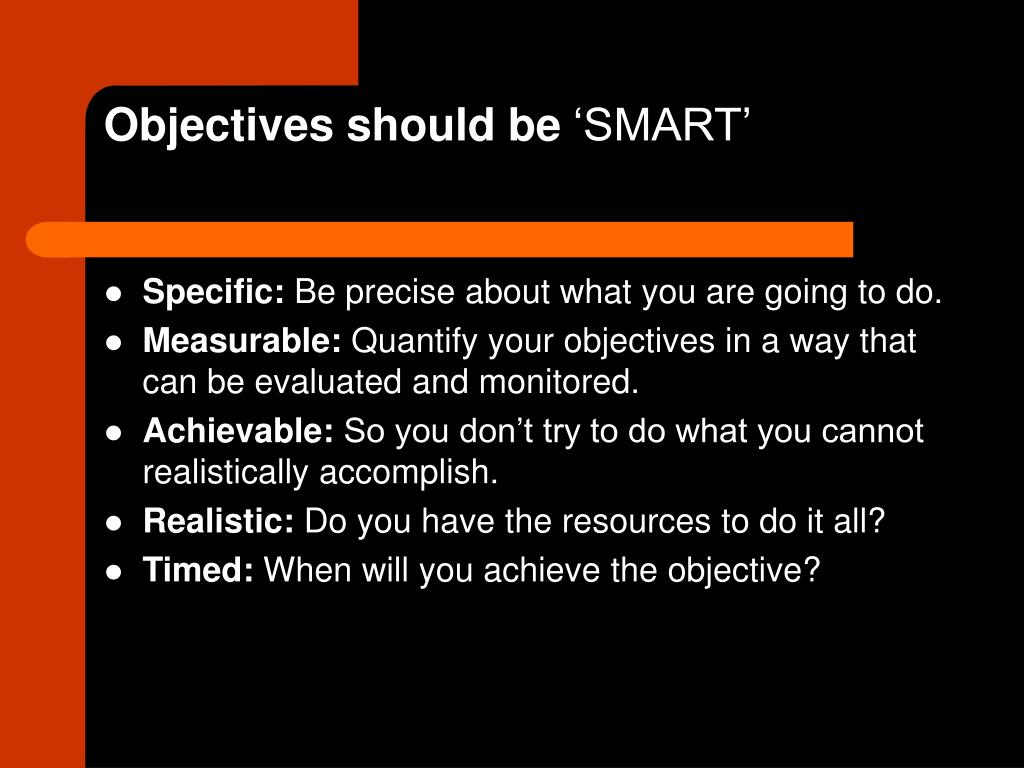 Objectives should be