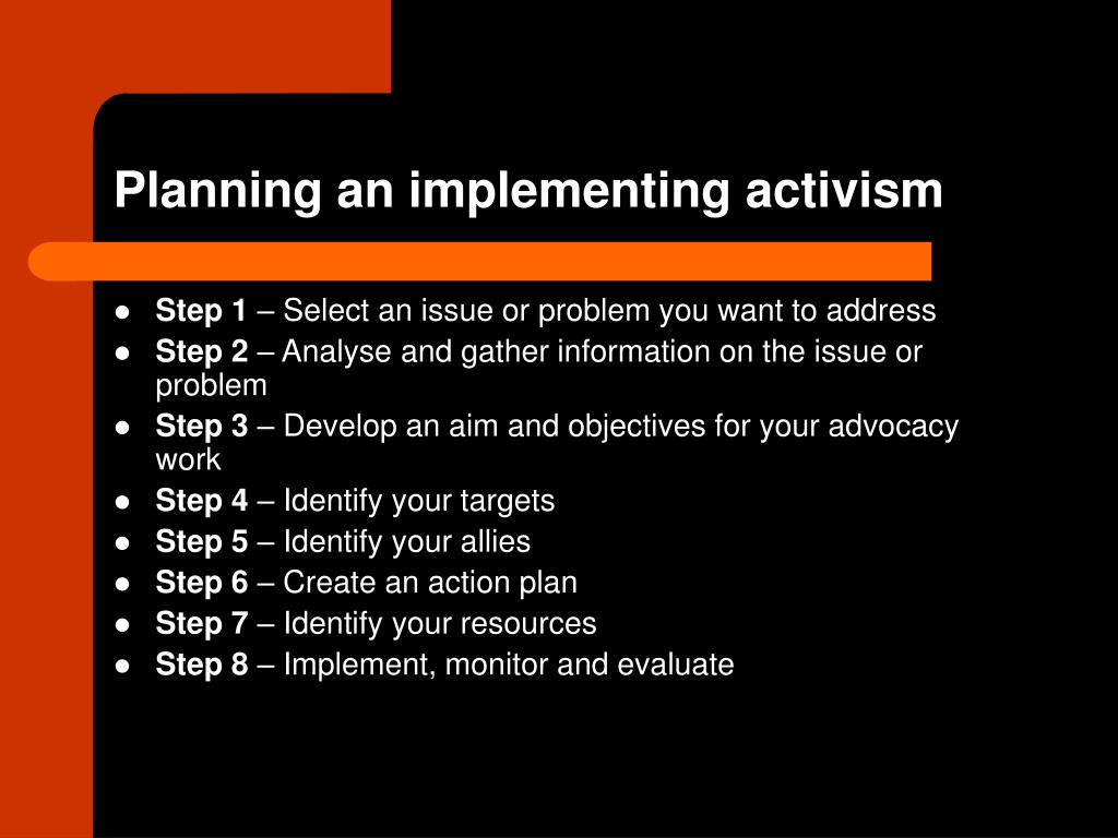 Planning an implementing activism