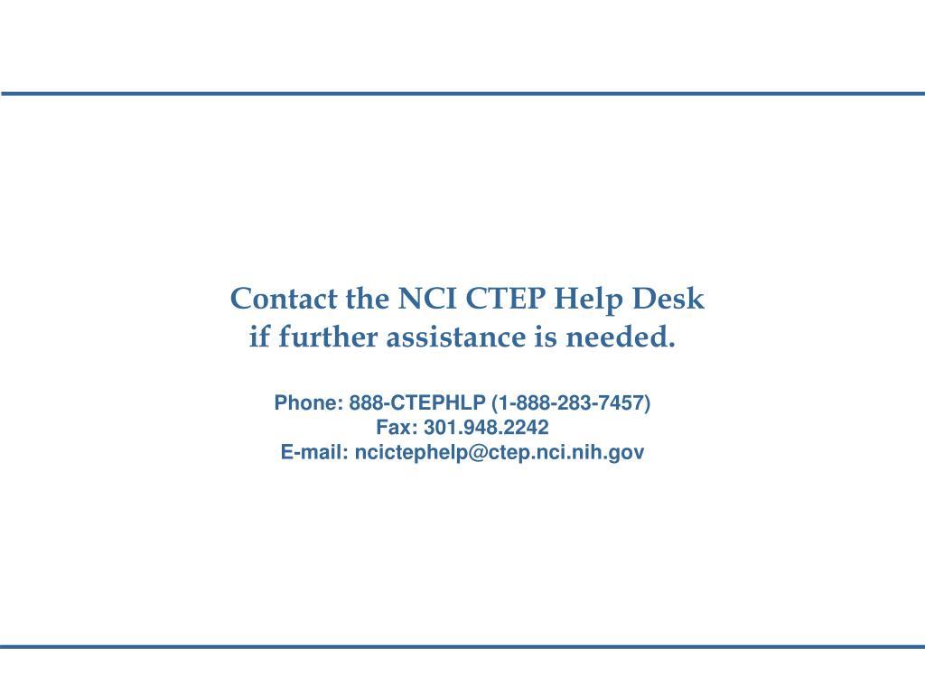 Contact the NCI CTEP Help Desk