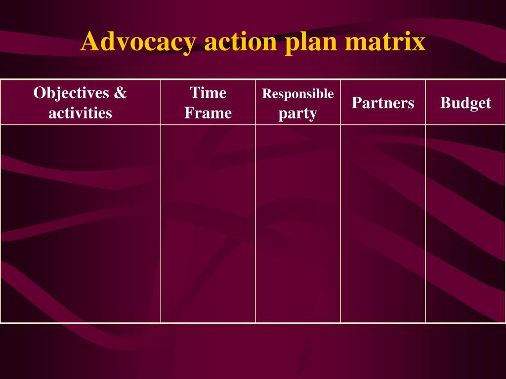 Advocacy action plan matrix