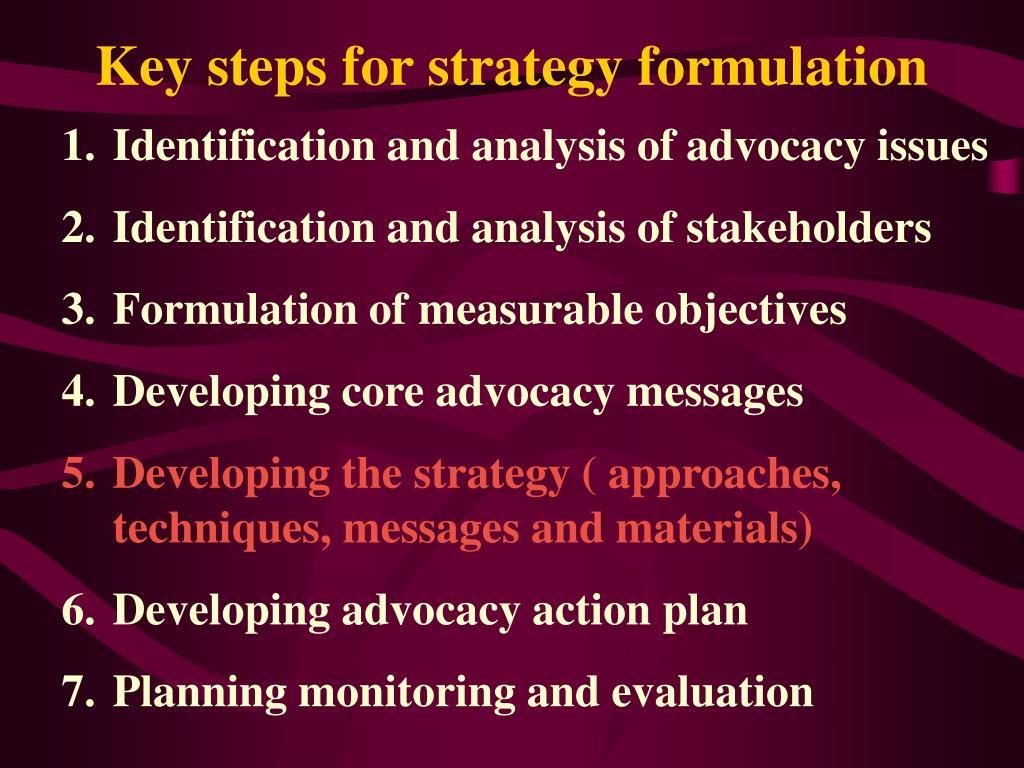 Key steps for strategy formulation
