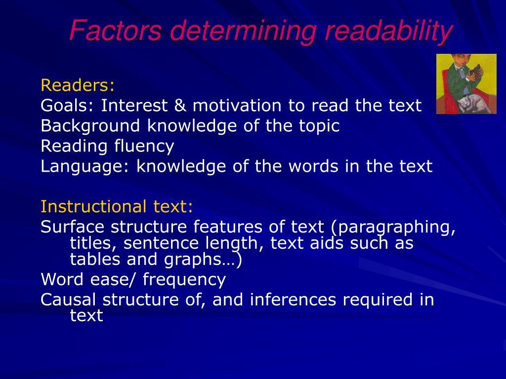 Factors determining readability