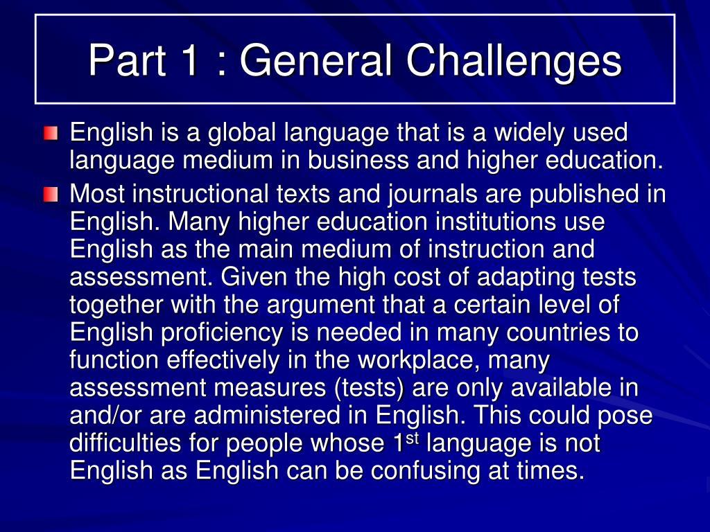 Part 1 : General Challenges