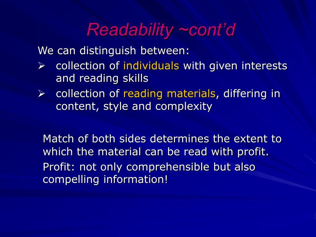 Readability ~cont'd