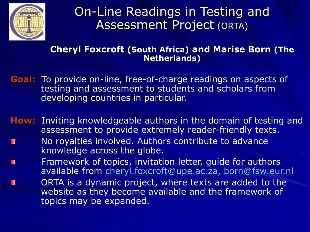 On-Line Readings in Testing and Assessment Project