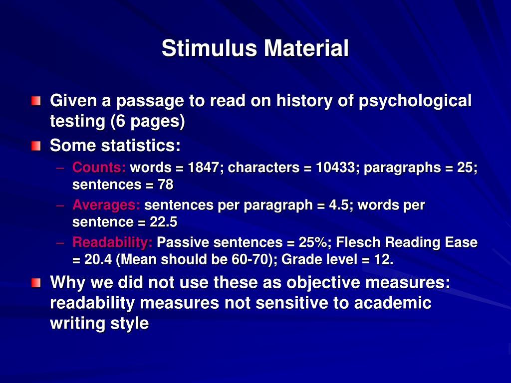 Stimulus Material