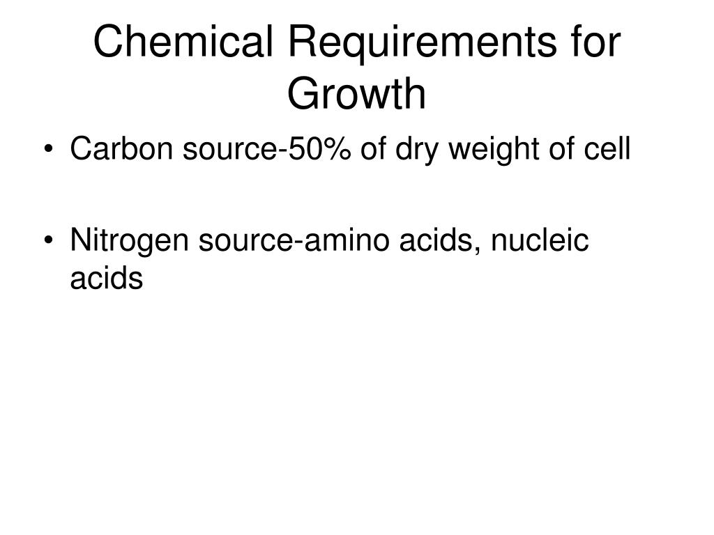 Chemical Requirements for Growth