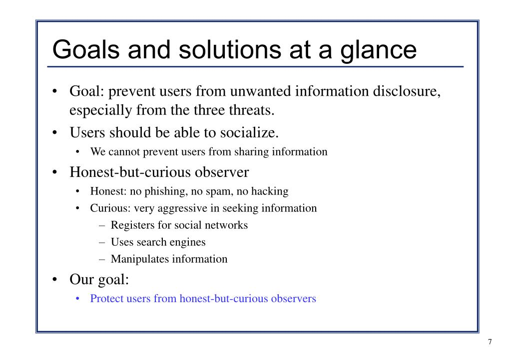 Goals and solutions at a glance