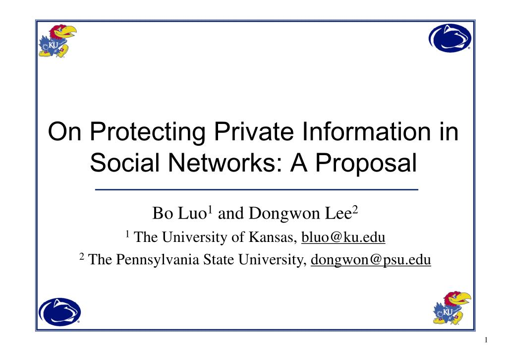 on protecting private information in social networks a proposal