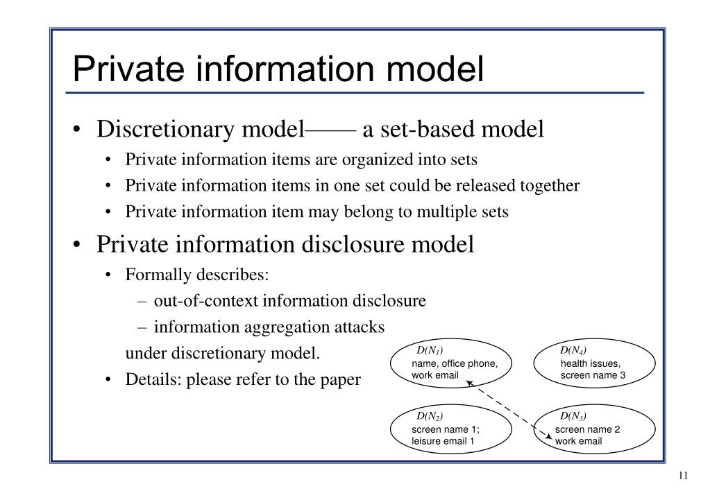 Private information model