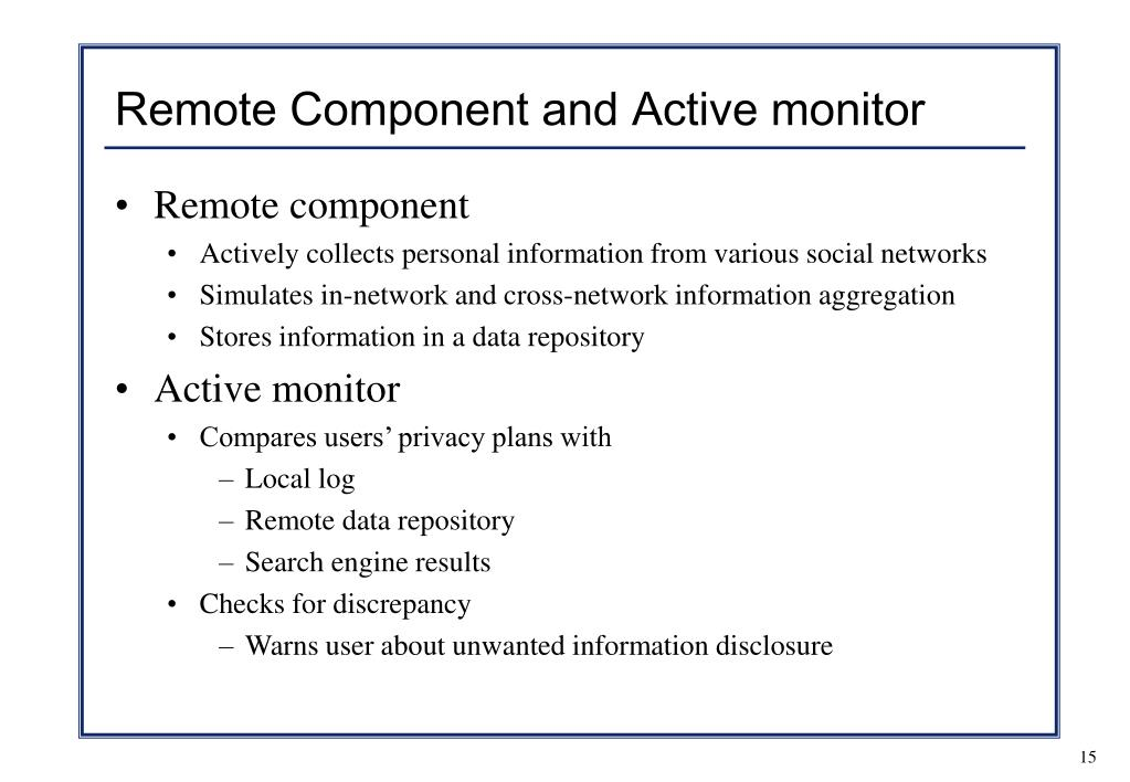 Remote Component and Active monitor
