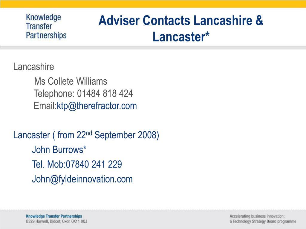 Adviser Contacts Lancashire & Lancaster*