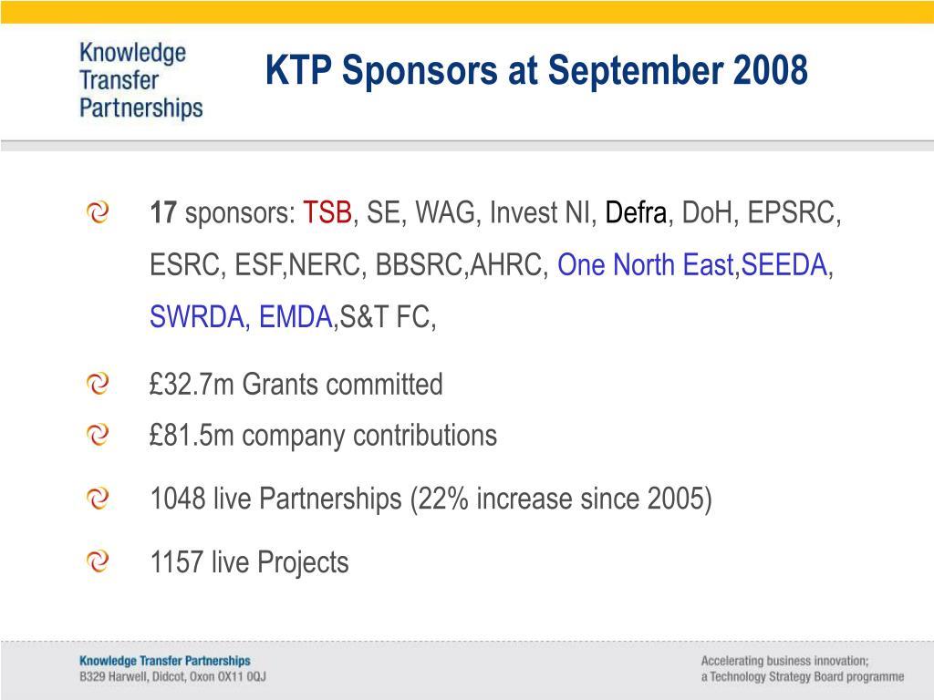 KTP Sponsors at September 2008