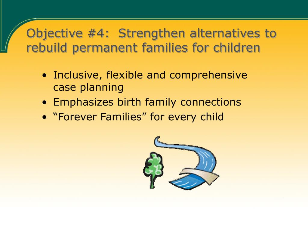 Objective #4:  Strengthen alternatives to rebuild permanent families for children