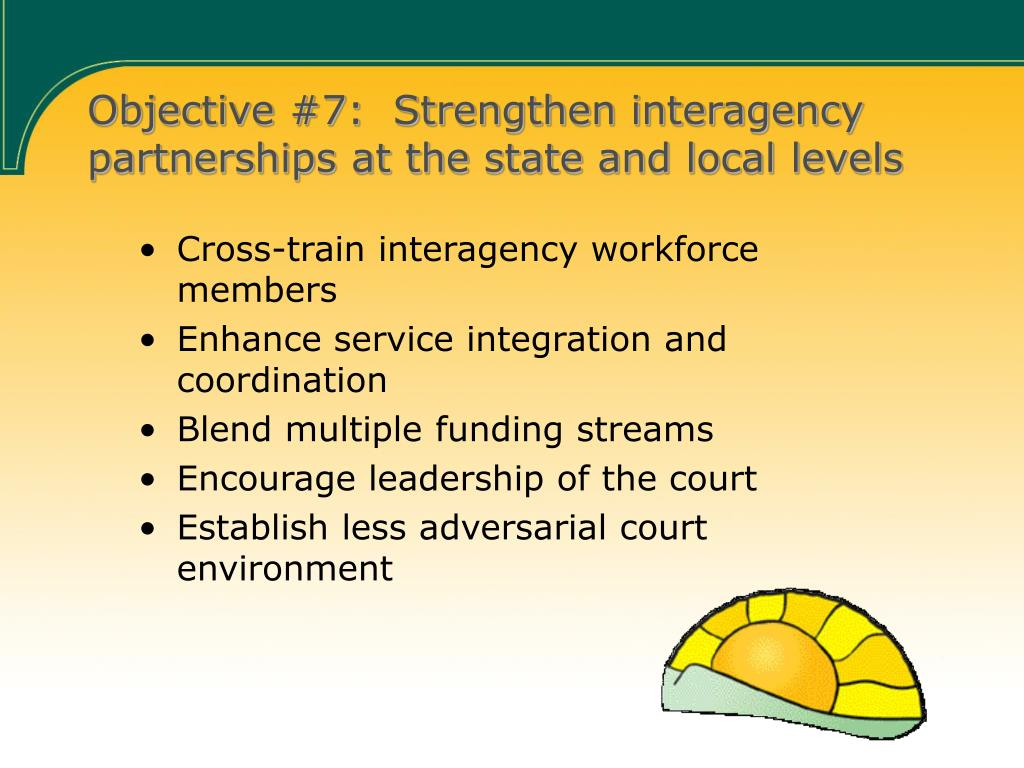 Objective #7:  Strengthen interagency partnerships at the state and local levels