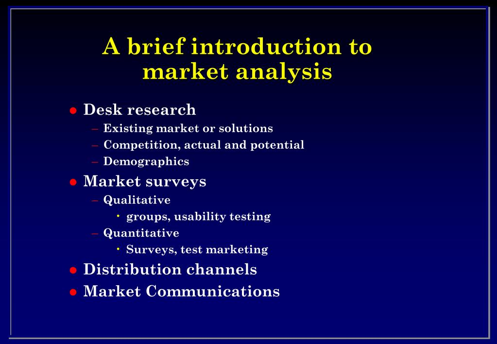 A brief introduction to market analysis