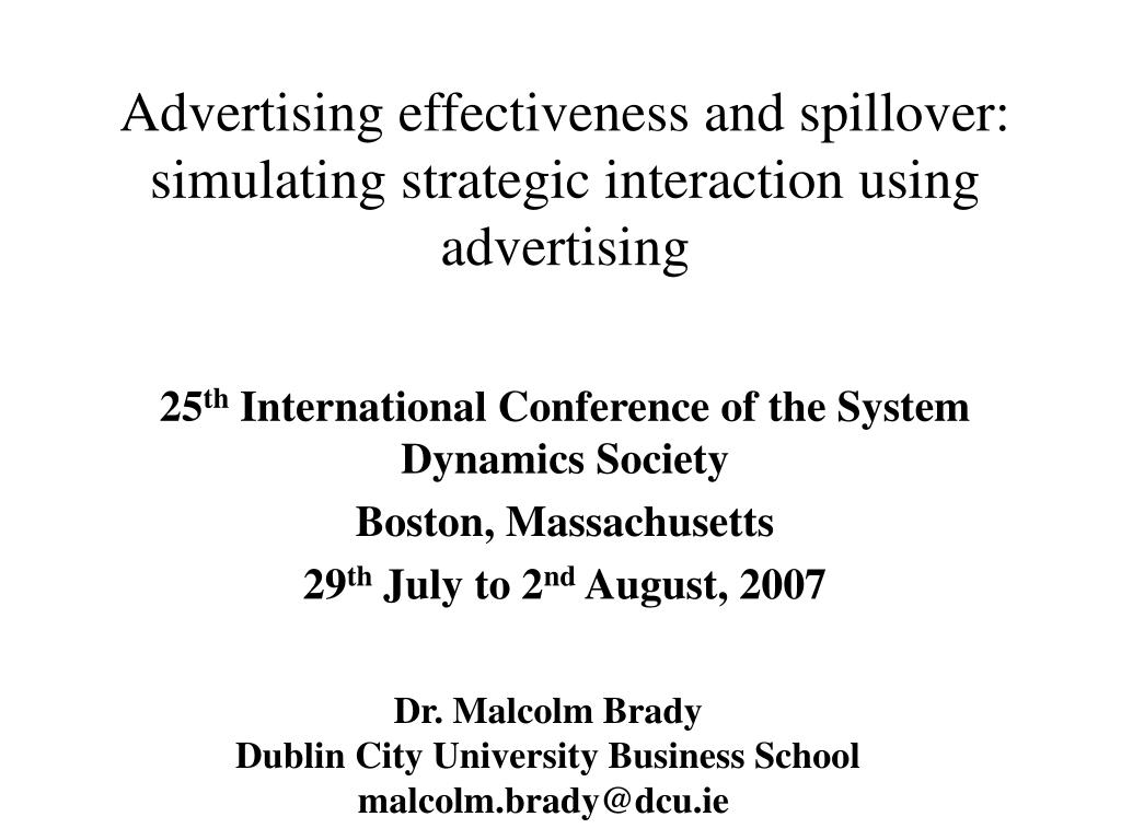 advertising effectiveness and spillover simulating strategic interaction using advertising