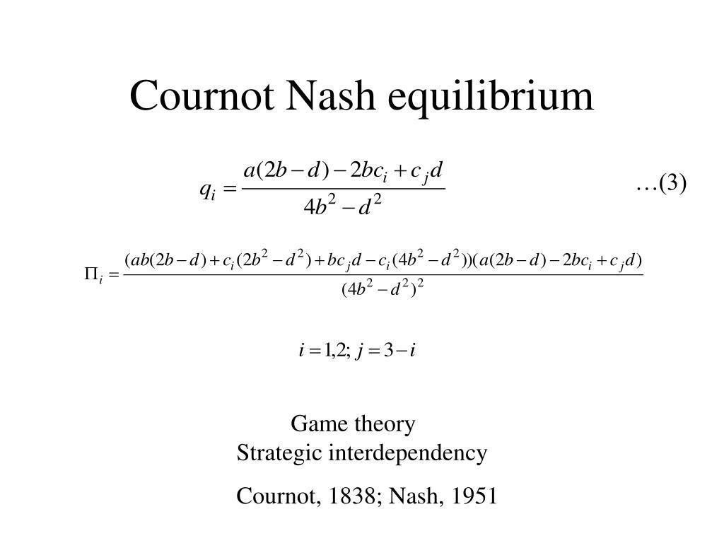 Cournot Nash equilibrium