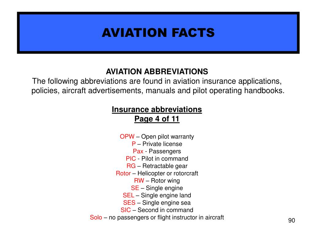 AVIATION FACTS