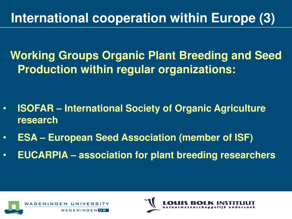 International cooperation within Europe (3)