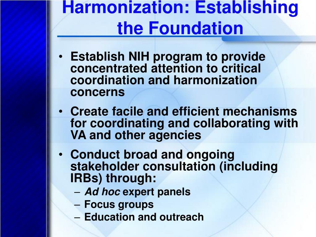 Harmonization: Establishing the Foundation