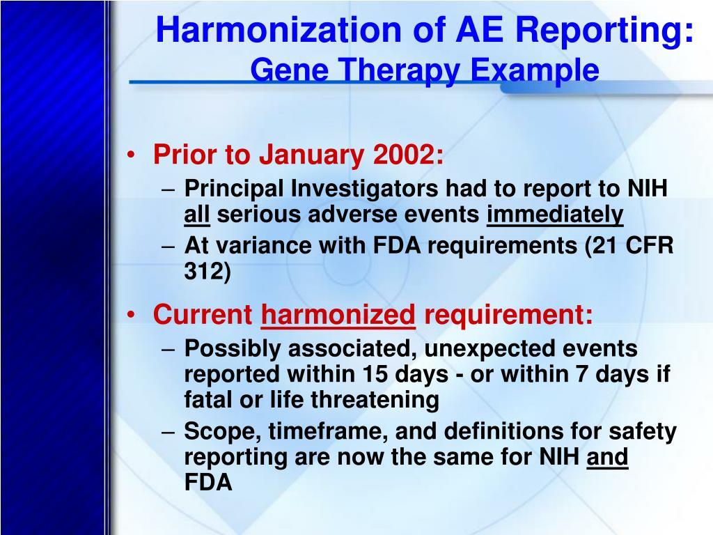 Harmonization of AE Reporting: