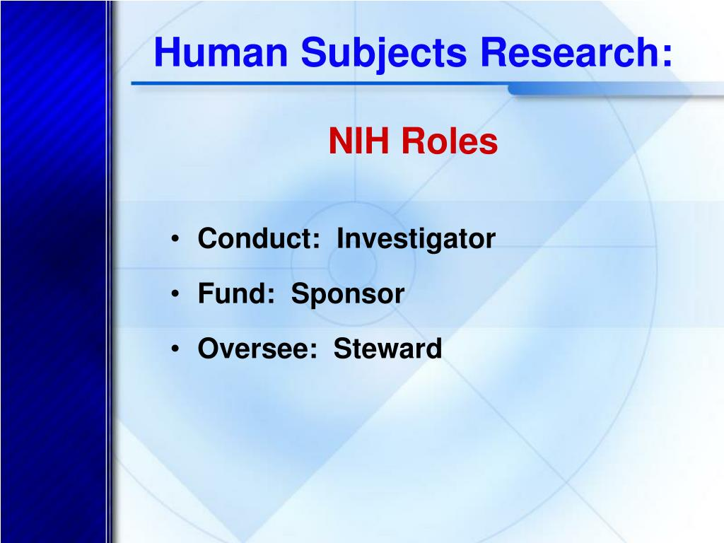 Human Subjects Research: