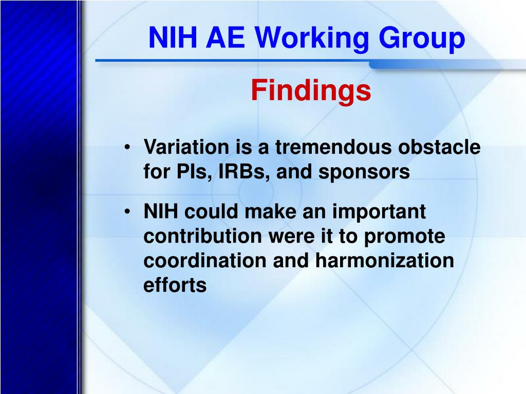 NIH AE Working Group