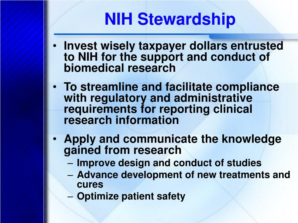 NIH Stewardship