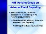 nih working group on adverse event reporting
