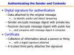authenticating the sender and contents