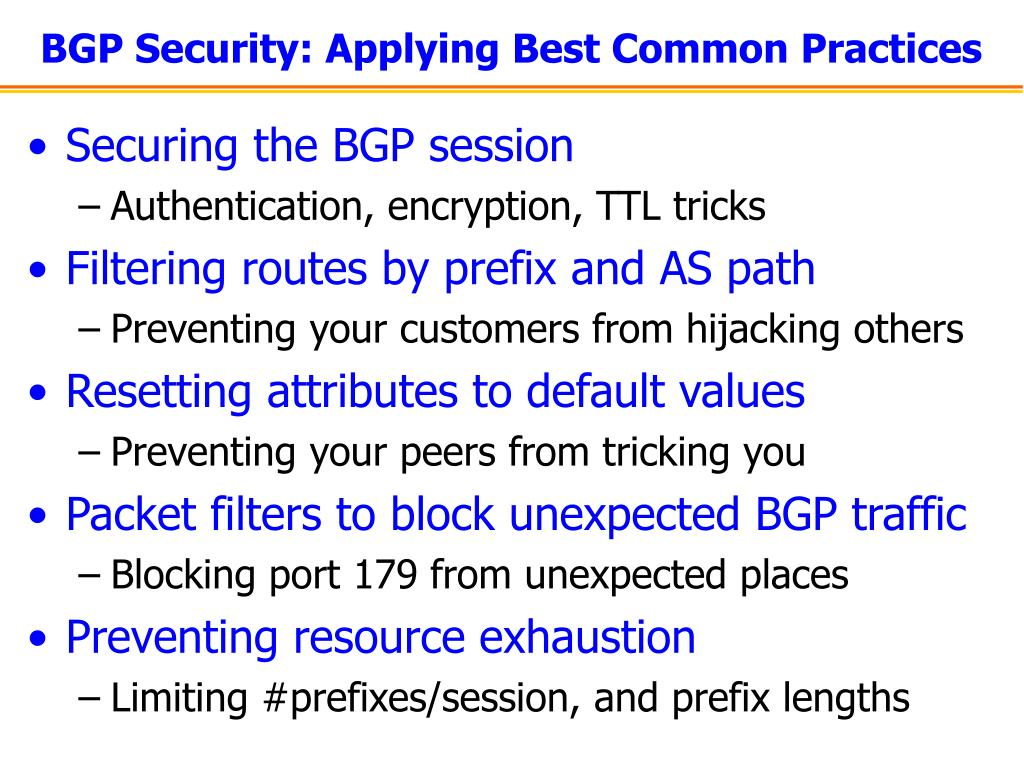 BGP Security: Applying Best Common Practices