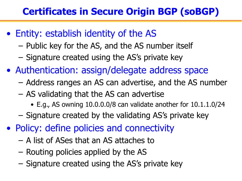 Certificates in Secure Origin BGP (soBGP)