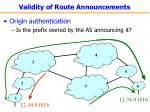 validity of route announcements