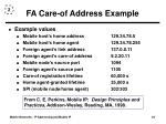 fa care of address example