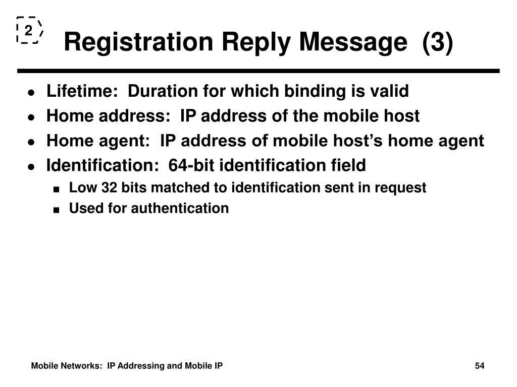 Registration Reply Message  (3)