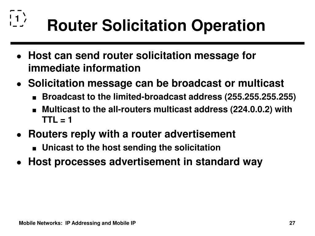 Router Solicitation Operation
