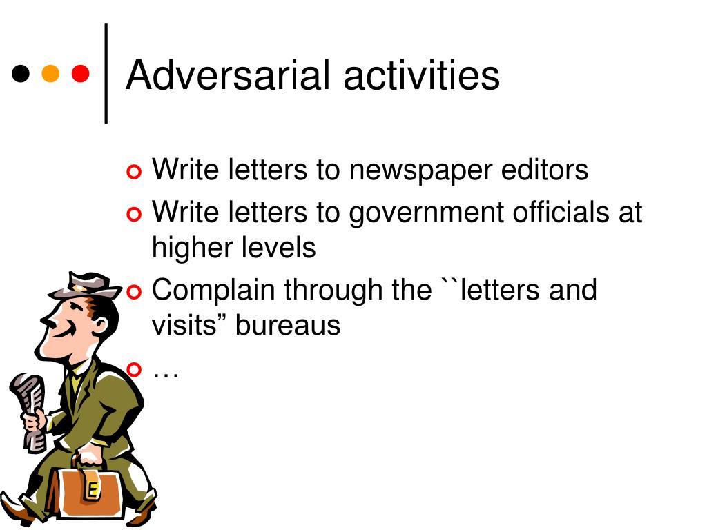 Adversarial activities