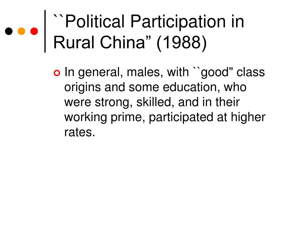 """``Political Participation in Rural China"""" (1988)"""