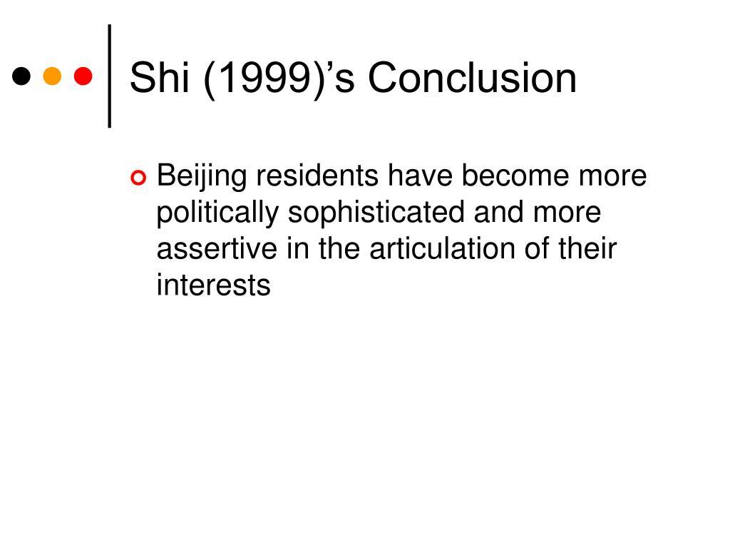 Shi (1999)'s Conclusion
