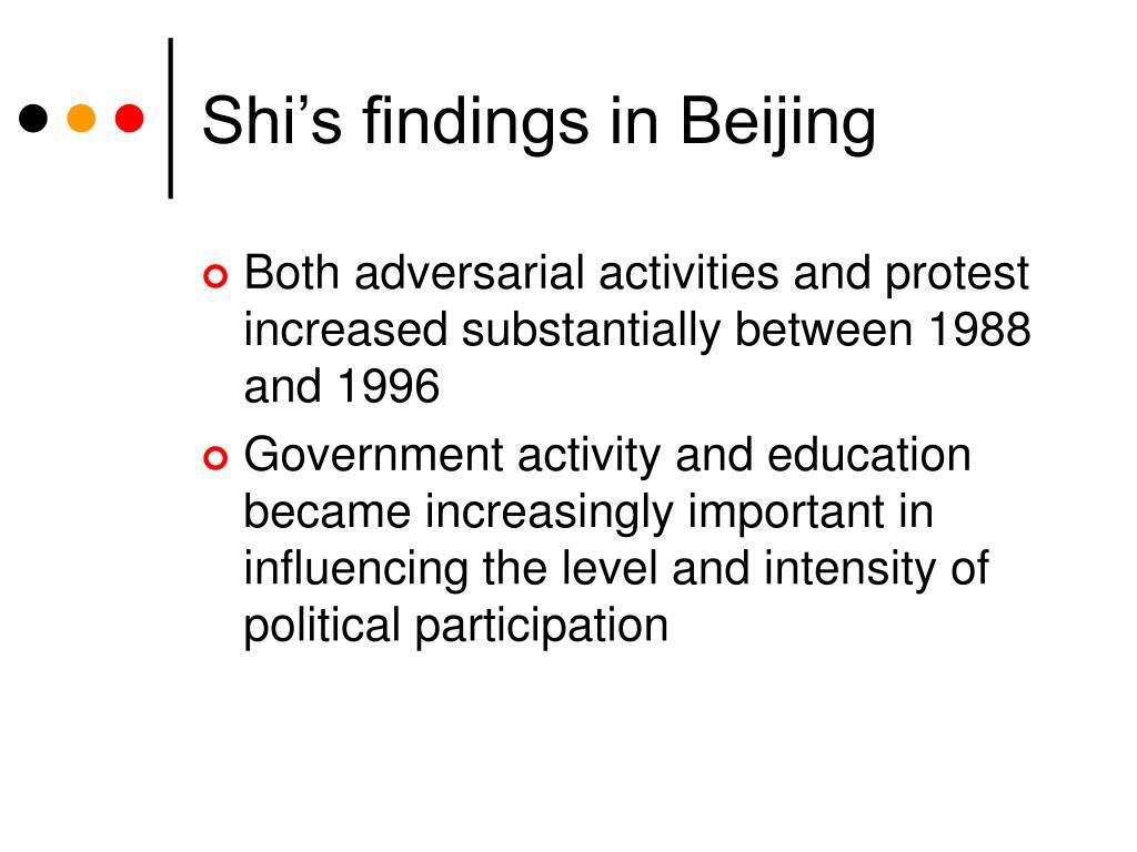 Shi's findings in Beijing