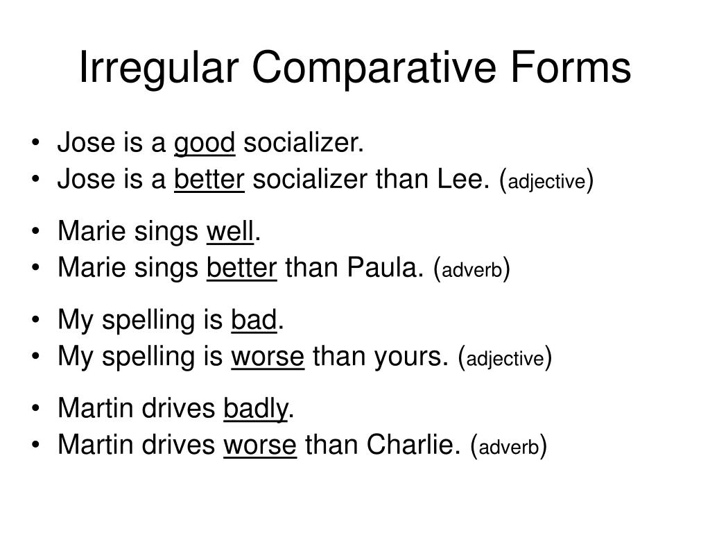 Irregular Comparative Forms