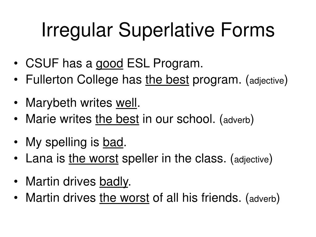 Irregular Superlative Forms