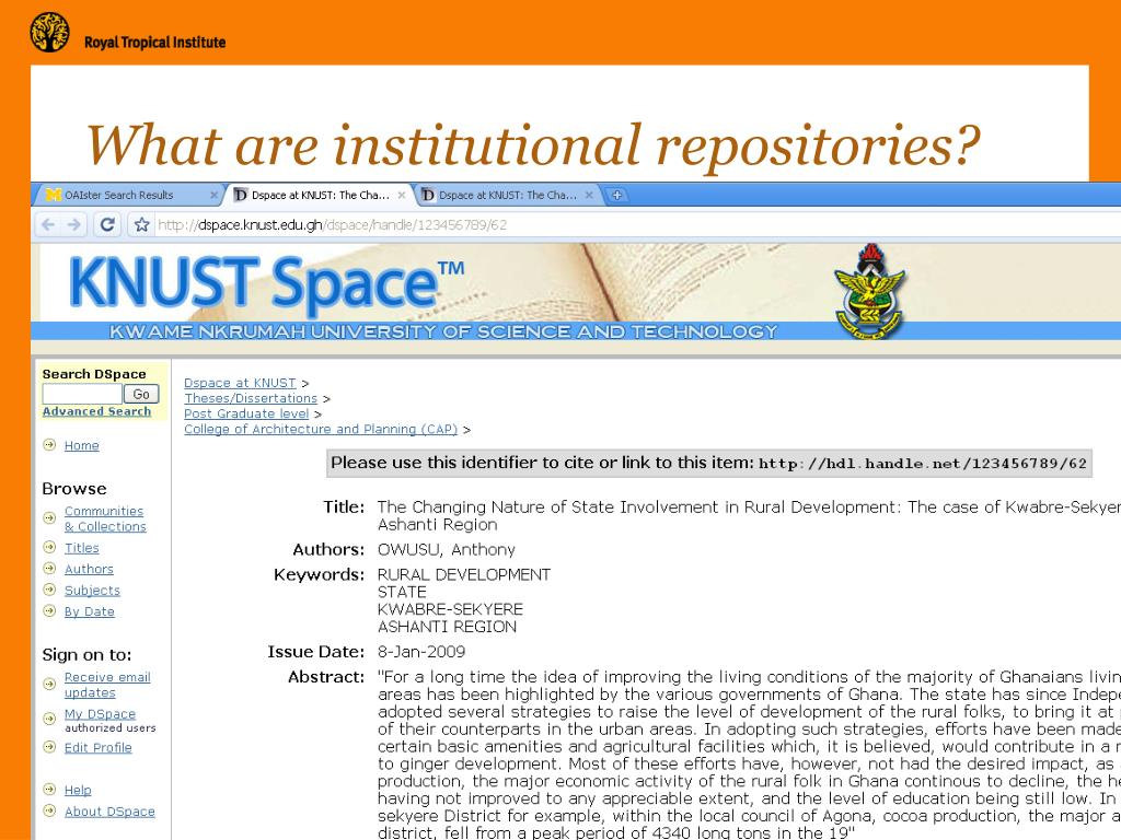 What are institutional repositories?