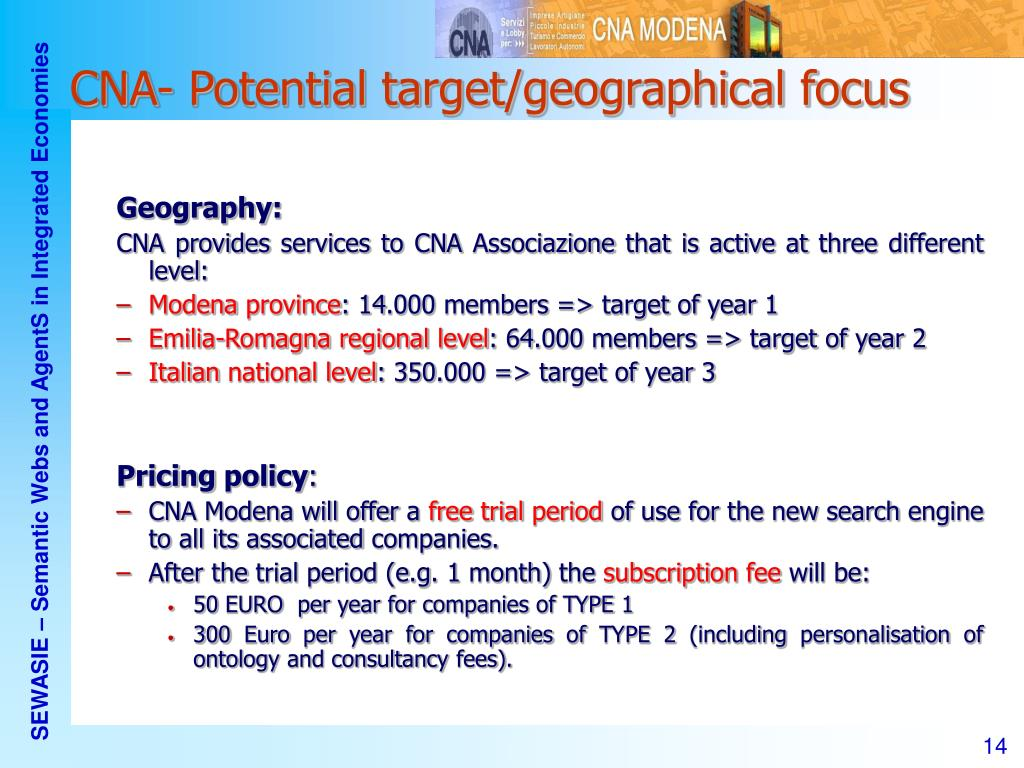 CNA- Potential target/geographical focus