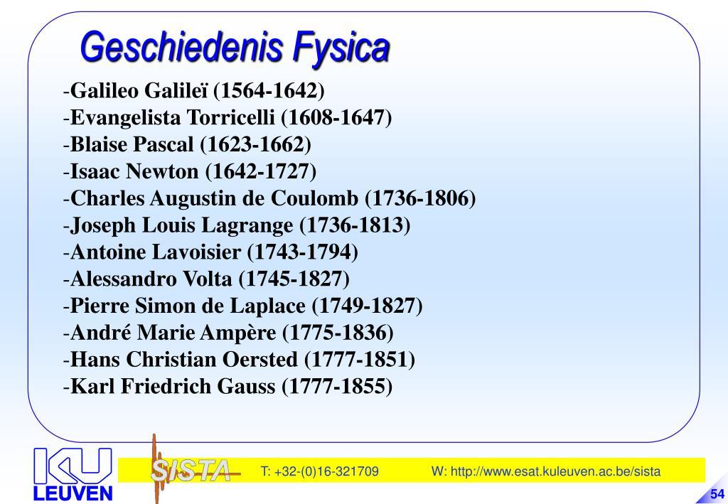 Geschiedenis Fysica